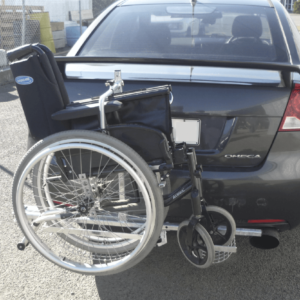 Towbar wheelchair attached